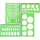 4 Stück Vorlage Kunststoff Herrscher Kreis Oval Kreis Radius Zeichnung Vorlagen für Büro und Schulbedarf (Klar Grün)