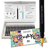 Pinselstifte Anfänger Set BrushKing   20 Aquarell Tuschestifte, befüllbarer Wassertankpinsel und Aquarellpapier. Brush Pen Set-Zeichenstifte, ideal für Hand-Lettering/ Kalligraphie, Watercolor Effekte