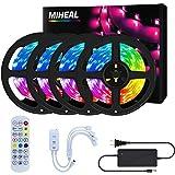 Miwatt 24M LED-Streifen, Bluetooth-Controller für mobile Apps, 24-Tasten-Fernbedienung Musiksynchronisation, Farbwechsel, RGB-LED-Strip