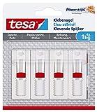 tesa 77774 Verstellbarer Klebenagel (für Tapeten und Putz, Höhenverstellbarer, Selbstklebender Wandnagel, bis zu 1 kg Halteleistung pro Nagel) 4er Pack, Weiß