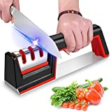 Karrong Messerschärfer, 3-stufig rutschfest Messerschärfer Hilft Reparatur, Messer Schärfen mit Diamant Beschichtetes Radsystem, Rot