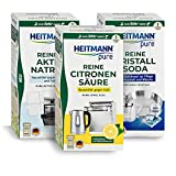 Reines Aktiv Natron + Reine Citronensäure + Reine Kristall Soda - HEITMANN pure Bundle für Sauberkeit Im Haushalt, Küche, Bad und Garten
