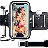 Gritin Sportarmband Handy für iPhone SE(2020)/ iPhone 11/11 Pro/iPhone XS/XR/iPhone 7/8 bis zu 6,1', Schweißfeste Handytasche mit Schlüsselhalter, Kopfhörerloch und Verlängerungsband