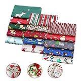 Happylohas Baumwollstoff Weihnachten, Weihnachten Muster Baumwollstoff, weihnachtsstoffe 15 stück, stoffpaket Baumwolle, für DIY weihnachtsstrumpf/Scrapbooking, 25x25cm