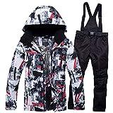 Skianzug Anzüge New Ski for Männer und Frauen im Freien Snowboard Ski Jacket Pants Männlich Weiblich Wandern Jacke Paare/Geliebte Winterkleidung Set (Farbe : HBT and Black, Size : M)