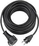 Brennenstuhl Qualitäts-Gummi-Verlängerungskabel 10m (IP44, Kabel für außen) schwarz