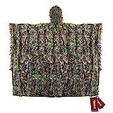 Zicac Outdoor mit schnelltrocknend Polyester 3D-Blätter Tarnen Cape Umhang Mantel Stealth Waldjagdbekleidung (Tarnung)