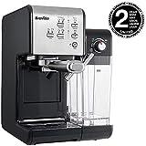 Breville PrimaLatte II Kaffee- und Espressomaschine VFC108X-01, 19 bar, für Kaffeepulver oder Pads geeignet, Integrierter automatischer Milchschäumer, schwarz/silber