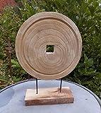 Deko-Objekt skulptur Statue Holz - Ring massiv Natur 44 cm hoch