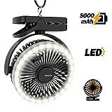 EasyAcc 5000mAh Camping Ventilator Clip Tischventilator mit LED Lichter 4 Geschwindigkeiten 4.5-18H 360 ° Kühlventilator für Außenbereich Kinderwagen Schwarz