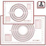 Backmatten aus Silikon, 2 Teigrollmatten mit Maßangaben (1 halber Bogen und 1 Viertelblatt), Antihaft-Knetmatten