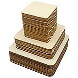 Meetory 42 Stück unbehandelte Holz-Quadrate 3 Größen Holz-Quadrate Stücke Ausschnitte für DIY Kunst, Handwerk, Pyrographie Kunst, Laser-Gravur, Schnitzen, Malen, Holzbrennung (10 cm, 8 cm, 5 cm)