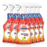 Sagrotan Küchen-Allzweck-Reiniger Spritzige Zitrone – 2in1 Desinfektionsreiniger für die zuverlässige Reinigung von Küchenoberflächen – 6 x 750 ml Sprühflasche