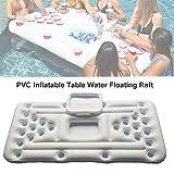 Minear Aufblasbarer Tisch, Aufblasbares Bier Pong Tabelle, Wasser Schwimmendes Floß, Floating Pool Party Spiel, Trinkspiel Für Erwachsene, Weiß