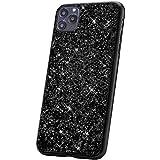 JAWSEU Kompatibel mit iPhone 11 Pro Max Hülle,Glänzend Bling Glitzer Kristall Strass Diamant Hart PC Hülle Weiche TPU Bumper Silikon Handyhülle Schutzhülle für iPhone 11 Pro Max, Schwarz