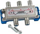 SCHWAIGER -9505- SAT-Verteiler 4-Fach digital/BK-Verteiler / 4-Wege Verteiler mit Kabel-Führung/SAT-Splitter 5-2400 MHz/vierfach Satelliten-Verteiler/für SAT-TV/DVB-S2 / Kabel-Fernsehen