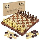 Fixget Schachspiel, Schachbrett Magnetisch Reise Schach Dame Spiel fuer Kinder Schachbrett Klappbar 30x30cm