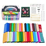 Vindany 36 Farben Polymer Clay Modellierung Ton Nontoxic Weiches DIY-Backset aus Ton mit Werkzeug und Aufbewahrungsbox Kinder