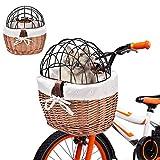 Weidenkorb fahrradkorb hund hundefahrradkorb hundekorb fahrrad vorne Hund Fahrradkorb Gewebter Fahrradkorb Vorderer Lenker Wicker Fahrradkorb Klein für PetCarrier Adult Boys Girls Bike