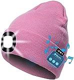 ATNKE LED beleuchtete Bluetooth-Beanie-Kappe, wiederaufladbare USB-Musikalische Laufmütze mit extrem hellem 4-LED-Licht wasserdichte Lampe für das Skifahren Wandern Camping Radfahren (Pink)