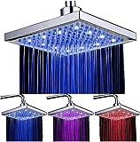 DAXGD LED Duschkopf viereckig 20cm Temperatur Control 3 Farbwechsel Wasser Flow Powered Top Sprühduschkopf ABS Chrome Finish 12 LEDs für Badezimmer