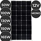 Monokristallin Solarmodul - 50 100 130 150 oder 165 W, 18 V für 12 V Batterien, Ladekabel - Photovoltaik Solarpanel, Solarladegerät, Solarzelle, Solaranlage für Wohnwagen, Camping, Balkon (100 W)