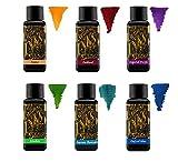 Diamine Füllfederhaltertinte 30ml - Farbkreis - 6 x Flaschen - Amber, Oxblood, Imperial Purple, Aurora Borealis, Oxford Blue, Meadow