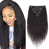 Clip in Extensions Echthaar Kinky Straight Doppelt Tressen für komplette Haarverlängerung Afro Haarteile Echthaar 8 Teilig 18 Clips 100% Real Human Hair 30cm-105g #1B Naturschwarz