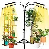 NaCot 【Upgrade】 96W Pflanzenlampe mit Ständer, 192 Led Pflanzenlicht 4 Lichtmodi Vollspektrum Pflanzenleuchte 0-100% Dimmen, Wachstumslampe mit Timer