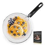 ROSMARINO Crepes Pfanne für alle Herdarten - Pfannkuchenpfanne mit glatter mineralischer Beschichtung - Pancake Pfanne mit Cool Handle, induktionsgeeignet