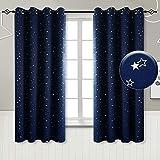 BGment Vorhänge Sterne Verdunkelungsvorhänge mit Ösen 2 Stücke Romatisch Blickdicht Gardine für Wohnzimmer Kinderzimmer Schlafzimmer(2X H 137 X B 117cm,Dunkelblau)