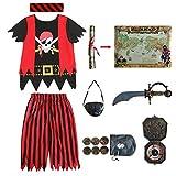 Aufrichtige Partei Piratenkostüm für Kinder, Piraten-Rollenspiel-Kits 8er Komplettset Größe 5-6 Jahre