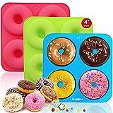 Walfos Silikon Donut Formen, silikon Donut backform Antihaft Donut Backblech für Kuchen Keks Bagels Muffins, Geeignet für Geschirrspüler, Backofen, Mikrowelle (3 pcs 4 Cup Big Size Donut Pan)