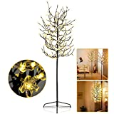 Karpal LED Kirschblütenbaum 180cm mit 200 Warmweiß Lichtern Beleuchtet mit Metallfuß Stabil und 5m Zuleitung für Weihnachten Garten Außen Dekoration Blüten Lichterbaum IP44