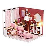 Blusea Häuser für Minipuppen,DIY Miniatur Puppenhaus Kit Realistische Mini Holzhaus Zimmer Spielzeug mit Möbel Led-leuchten Weihnachten Kindertag Geburtstagsgeschenk