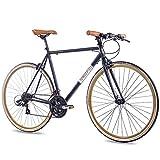 CHRISSON 28' Zoll URBAN RENNRAD Fahrrad Vintage Road 3.0 mit 21G Shimano A070 Retro Look 56cm schwarz matt