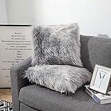 Sweetwill Flauschige weiche quadratische Kissenbezüge, luxuriöser Kunstfell-Überwurf, dekorativer Kissenbezug, Plüsch, für Wohnzimmer, Sofa, Schlafzimmer, Auto, 2 Stück