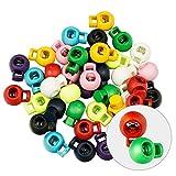 Dreetino Kordelstopper, 40PCS Runder Kunststofffeder Kordelstopper 1 Loch für Seile, Jacken, Hoodie UVM (4PCS Für Jede Farbe, 10 Farben)