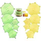 CISHANJIA Silikondeckel Dehnbar, 12er Dehnbare Silikondeckel BPA-frei Wiederverwendbar für Verschiedene Größen und Formen von Behältern, Sicher in Spülmaschine, Mikrowelle, Gefrierschrank(Gelb Grün)