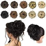 FESHFEN Haarteil Dutt Haargummi mit Haaren Glatt struppige Haarknoten Hochsteckfrisuren günstig Haarverlängerung für Frauen 45g