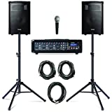 Alesis PA System in a Box Bundle - 280W Sound System mit 4-Kanal Mixer, zwei 10 Zoll Passiv 2-Wege Lautsprecher mit Stative, Lautsprecherkabel und Mikrofon mit Kabel