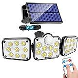 Solarlampen für Außen mit Bewegungsmelder, 138 LED Strahler Außen mit Fernbedienung, IP65 Wasserdichte, 360°Beleuchtungswinkel, 3 Modi Solar Wandleuchte mit 5m Kabel [Energieklasse A+++]