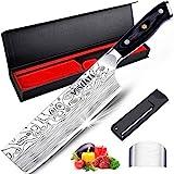MOSFiATA Nakiri-Messer Nakiri-Kochmesser, kohlenstoffreiches 7-Zoll-Gemüsemesser aus Edelstahl, ergonomisches Multifunktions-Fleischmesser Nakiri-Gemüsemesser, geeignet für Haushalt und Küche