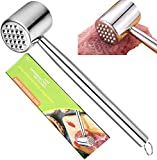 Fleischklopfer, Doppelseitiger 304 Edelstahl-Fleischhammer um Fleisch plattieren und weicher zu Machen Fleischplattierer für Schnitzel,Hammer zum Klopfen von Fleisch,Spülmaschinengeeignet