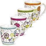 matches21 Tassen Becher Kaffeetassen Kaffeebecher Motiv bunte Blumen orange grün violett blau Porzellan 4-tlg. Set je 10cm / 400ml