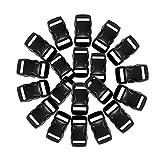 Schnalle 20X10MM - Double Side Release Schnallen - Steckverschluss, Kunststoff Klickverschluss, Klippverschluss, Steckschließer, Steckschnalle, Armbänder oder Hunde-Halsbänder- MADE-IN-EU - (Schwarz)