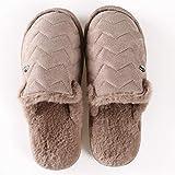 KFDS Frauen-Mikrofaser Terry Slide Slipper, Bequeme Faux Fur Frauen Haus Slipper Scuff Gedächtnis-Schaum-Slip-on-Anti-Skid Sole (Color : Brown, Size : EUR41-42)