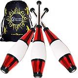 Euro PRO Jonglierkeulen 3er-Set (Rot) Jonglier Keulen Training Set + Flames N Games Reisetasche! Große Keulenjonglage Set für Kinder & Erwachsene!