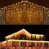 BrizLabs Weihnachtsbeleuchtung Außen 360 LED Eisregen Lichterkette Lichtervorhang Warmweiß Eiszapfen Weihnachten Deko 8 Modi Timer und Dimmbar mit Fernbedienung für Party Hochzeit Garten Balkon
