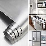 KINLO Klebefolie Metall Optik Selbstklebende Folie Silber Gebürstet Möbelfolie 60 * 5M PVC Dekofolie Küchenfolie for Kühlschrank Küchenschränke Küchenrückwand Tür Möbel Haushaltsgeräte & Deko